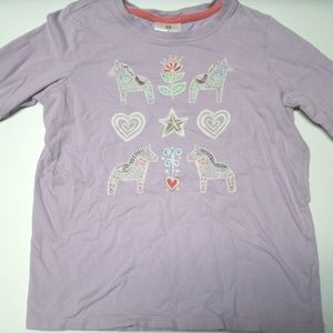 Hanna Andersson Girl's T-Shirt Purple Horses 10